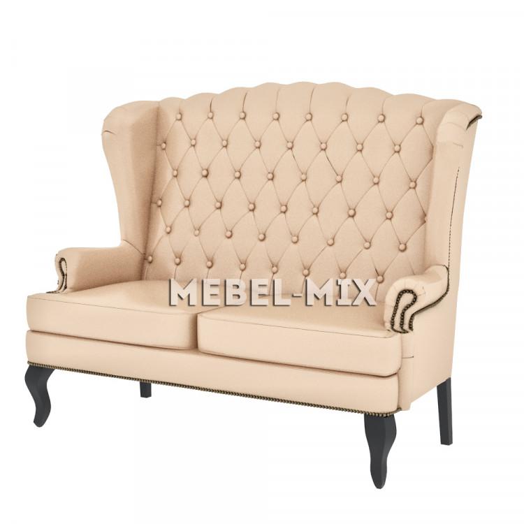 Английский диван с ушами в коже, бежевый 136 см.