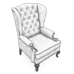 Каминное кресло с ушами, в любой ткани