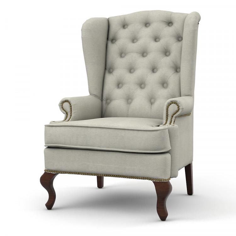 Каминное кресло с ушами, модель светло-серое