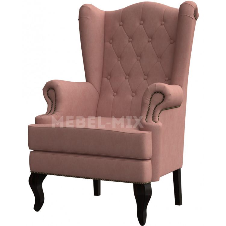 Каминное кресло с ушами, нежно-розовое