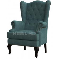 Каминное кресло с ушами, сине-зеленое
