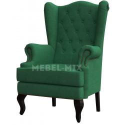 Каминное кресло с ушами, зеленое