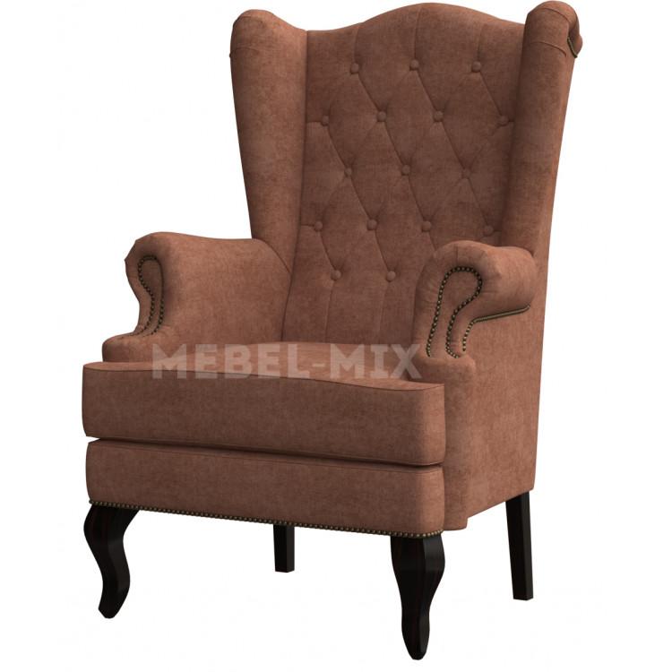 Каминное кресло с ушами, коричневое