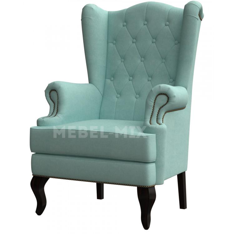 Каминное кресло с ушами, голубое