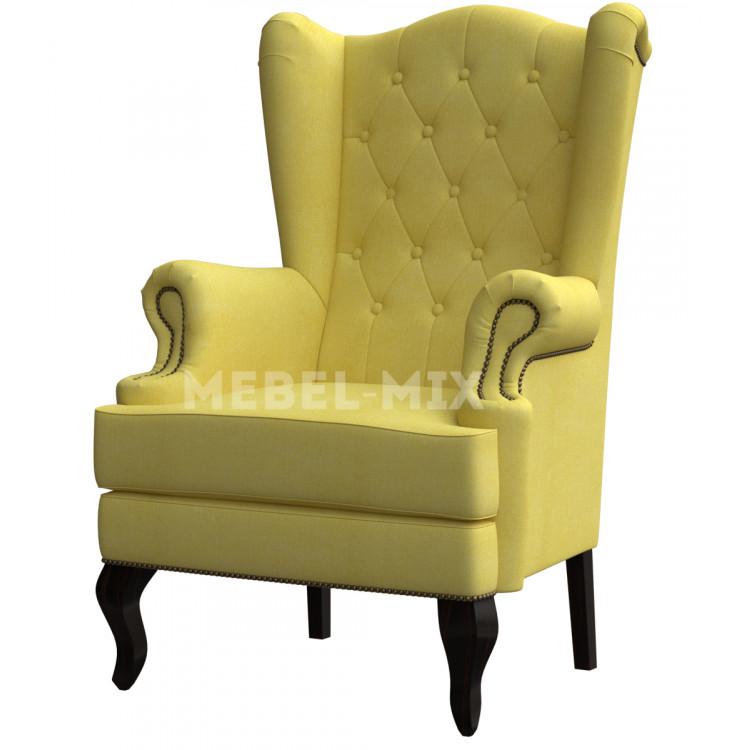 Каминное кресло с ушами, желтое