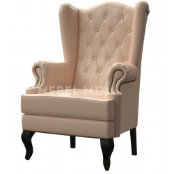 Английское кресло с ушами в коже, бежевое1