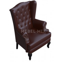 Английское кресло с ушами в коже, коричневое