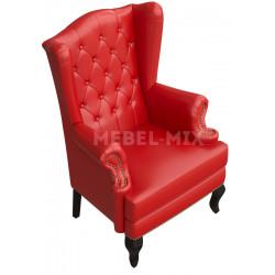 Английское кресло с ушами в коже, красное
