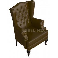 Английское кресло с ушами в коже, темно-зеленое
