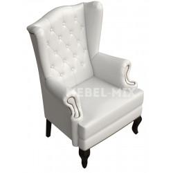 Английское кресло с ушами в коже, белое