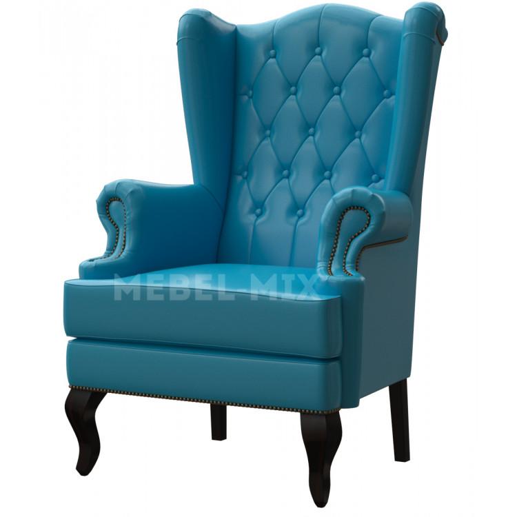 Английское кресло с ушами в коже, голубое