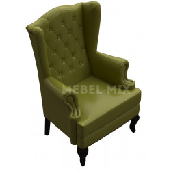 Английское кресло с ушами в коже, оливковое